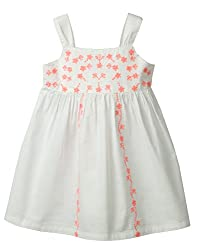 Beebay Infant-girl 100% Cotton Woven Neon Floral Embroidery Dress (D0716124202128_White_3-4 Years)