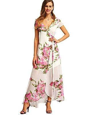 62c006ee9d9 Milumia Women s Vintage Floral Print Split Wrap Maxi Dress