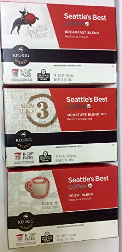 30 Pack Seattle's Best Coffee K-cup for Keurig Brewers Featuring Signature Blend, House Blend and Breakfast Blend