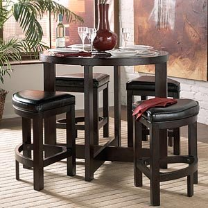 Strasbourg 5-pc. Pub Table Set Round Table, 4 Wedge Stools