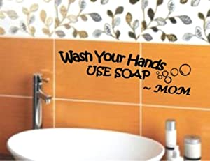 Wash Your Hands USE SOAP Mom Decal Wall Vinyl Bathroom Lettering Art quote sticker (Come with Free glowindark switchplate decal) by stickerciti