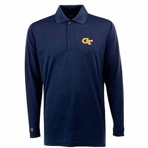Georgia Tech Long Sleeve Polo Shirt (Team Color) by Antigua