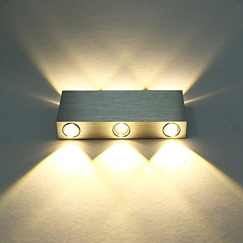 Deckey LED Lampada Da Parete, Applique Moderno Per Illuminazione, Luce 6W Da Interno (Bianco Caldo)