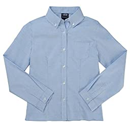 French Toast Long Sleeve Oxford Blouse With Darts Girls Blue 6