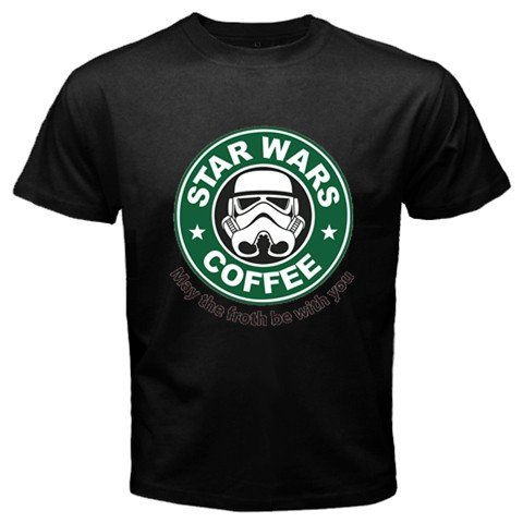 Funny T-Shirts (Star Wars Coffee) Great Gift Ideas For Adults, Men, Boys, Youth, & Teens, Collectible Novelty Shirts - Medium - Black