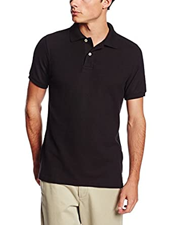 Lee Uniforms Men's Short Sleeve Polo, Black, Small