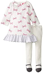 Isaac Mizrahi Baby-Girls Newborn Bow Dress with Mary Jane Tights, Multi, 6 Months