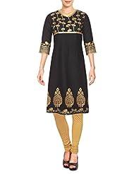 D'Ethno Women's Black Gold Printed Long Cotton Kurti
