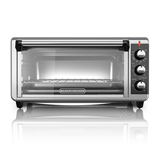 BLACK+DECKER TO3250XSB 8-Slice Extra Wide Convection Countertop Toaster Oven, Includes Bake Pan, Broil Rack & Toasting Rack, Stainless Steel/Black Convection Toaster Oven (Small Oven For Baking compare prices)