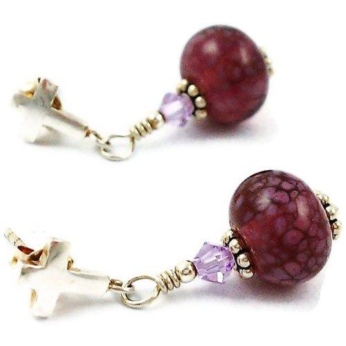 Sterling Silver and Lampwork Glass Drop Earrings Purple Cross