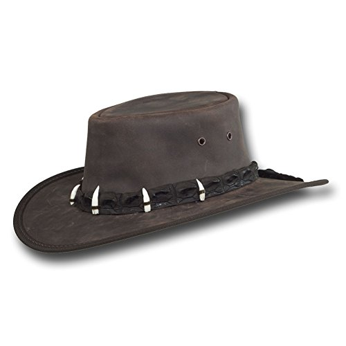 Barmah Hats Outback Crocodile Leather Hat 1033Bl / 1033Br - Dark Brown - Medium
