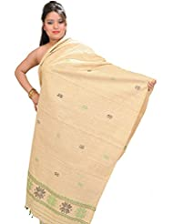 Exotic India Summer-Melon Eri Dupatta From Assam With Woven Bootis - Yellow