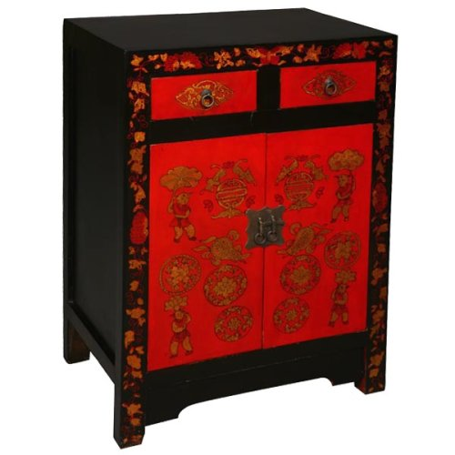 "Cheap EXP Handmade Asian Furniture – 33″ Red & Gold Storage Cabinet / End Table With ""Good Fortune"" Motif (B001JIAV6A)"