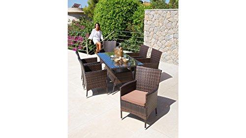 baumarkt-direkt-13tlg-Gartenmbelset-Santiago-6-Sessel-Tisch-150x80-cm-Polyrattan-inkl-Auflagen-braun