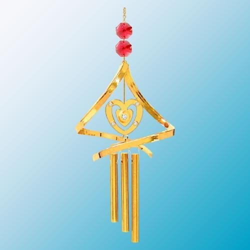 24K Gold Plated Wind Chime Sun Catcher or Ornament..... Sweet Heart With Red Swarovski Austrian Crystal