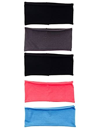 Buy 5 PACK: Single Layer Cotton Spandex 4.5 Raw Edge Sports & Yoga Headband by Kalon Active