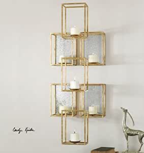 Amazon.com: Contemporary Stacked Cubes Candle Wall Sconce Gold Geometric: Home & Kitchen