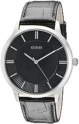 GUESS Men's U0664G1 Sleek Black Watch with Silver-Tone Case