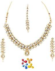 Arum Designer White Studded Golden Plated Metal Necklace Set For Women