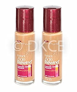 2 x Maybelline Instant Age Rewind Radiant Firming Liquid Makeup Foundation - Tan (340)