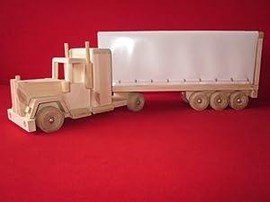auto aus holz holzauto laster truck spielzeug lkw weiss spielzeug. Black Bedroom Furniture Sets. Home Design Ideas