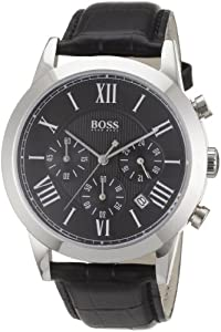 Hugo Boss Gents Stainless Steel Watch with Leather Strap