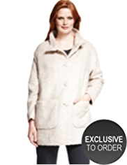 Plus Funnel Neck Bouclé Coat with Wool