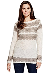 Per Una Doiley Lace Reverse Knit Jumper with Wool