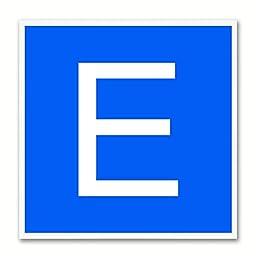Alphabet E Blue Canvas Print White Frame Kids Bedroom Wall Décor Home Art