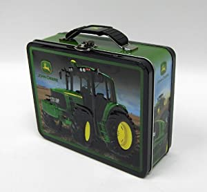 "John Deere Tin Lunch Pail featuring a 6430 tractor 6.5"" x 8"""