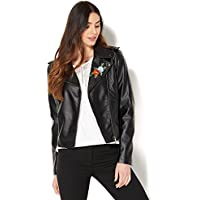 New York & Company Womens Embroidered Faux-Leather Moto Jacket (Black)