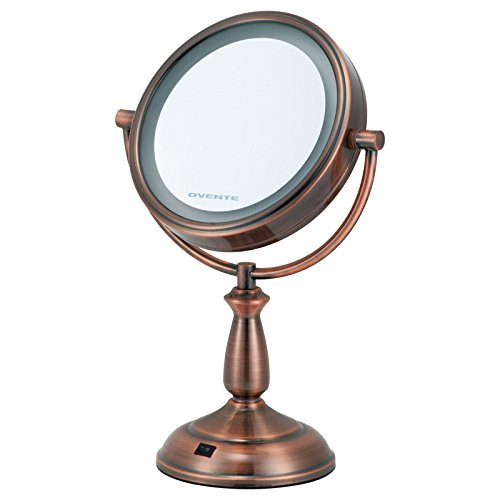 Ovente 1X/10X Dual Sided Led Lighted Round Mirror