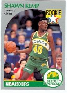 Shawn Kemp basketball card 1990 NBA Hoops #279 (Seattle Supersonics) Rookie Card