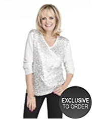 Twiggy for M&S Collection Front Sequin Embellished Jumper with Angora