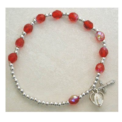 Adult Womens Stretch Rosary Bracelet Birthstone Ruby July Red.