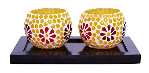 Lime Light Wood And Glass Votive Candle Holder ( 23cm X 13cm X 7.5cm, Set Of 2 Holders In A Tray, VOT-24 )