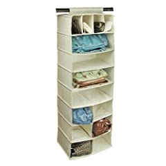 Richards Homewares Hanging Fourteen Pocket Handbag Organizer-Canvas/Natural