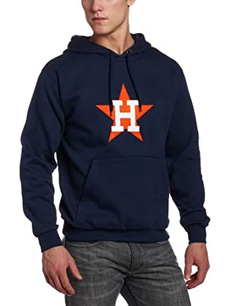 MLB Houston Astros 1986 Cooperstown Felt Tek Patch Long Sleeve Hooded Fleece Pullover by Majestic