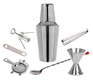 7 Piece Set - Stainless Steel Cocktail Martini Shaker Bar Set by Bar Master