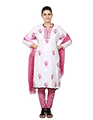 Missprint Pink And White Printed Modal Salwar Suit Set