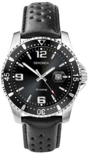 Sekonda Men's Quartz Watch with Black Dial Chronograph Display and Black Leather Strap 3403.27