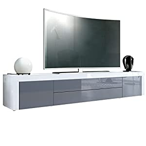 Meuble tv bas la paz en blanc en haute brillance gris en for Meuble tv blanc gris