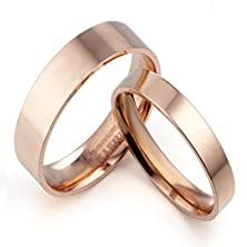 buy Gemini Groom & Bride Flat Court Comfort Fit Rose Gold Titanium Wedding Rings Set Width 6Mm & 4Mm Men Ring Size : 11.5 Women Ring Size : 9 Valentine'S Day Gifts