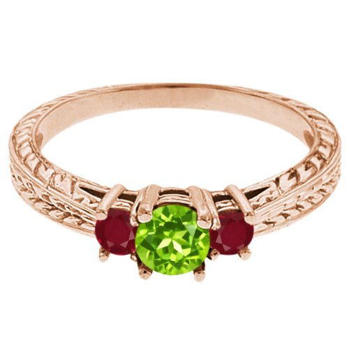 0.58 Ct Round Green Peridot Red Ruby 18K Rose Gold 3-Stone Ring