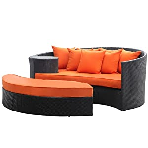 LexMod Taiji Outdoor Wicker Patio Daybed with Ottoman in Espresso with Orange Cushions by Lexington Modern Outdoor