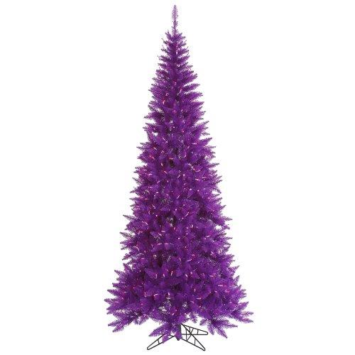 Pre-Lit Passion Purple Fir Slim Artificial Christmas Tree – Purple ...