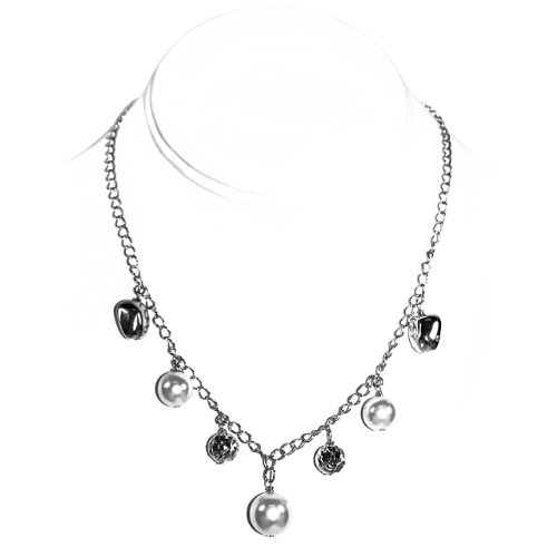 925 Sterling Silver Pearl and Silver Beads Necklace [Jewelry]
