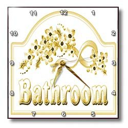 3dRose dpp_60566_1 Victorian Yellow Gold Bathroom Sign Wall Clock, 10 by 10-Inch