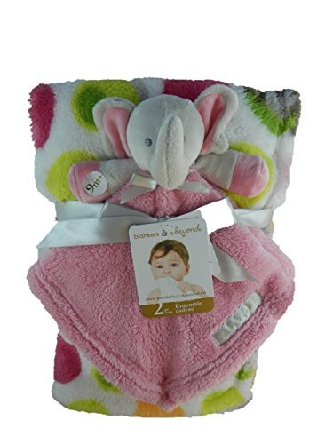 Blankets & Beyond 2 Pc Colorful Blanket & Pink Security Blanket Gift Set
