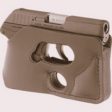 BP1 DTOM LCP Back Pocket Leather Holster Ambidextrous for the Ruger LCP but may also work for the Kel-Tec P3AT, Kahr P380, Taurus 738 TCP Full Grain Leather - Black